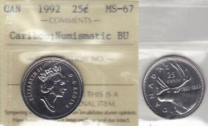 Click now to see the BUY IT NOW Price! 1992 ICCS MS67 NBU  PL BU MS NC  25 CENTS CARIBOU CANADA TWENTY FIVE QUARTER