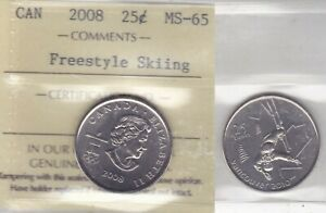 Click now to see the BUY IT NOW Price! 2008 ICCS MS65 25 CENTS FREESTYLE SKIING  2010 VANCOUVER OLYMPICS  CANADA TWENTY