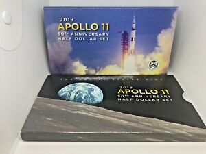 2019 APOLLO 11 50TH ANNIV. HALF DOLLAR SET MINT PACKAGING   NO COINS   ERROR PKG