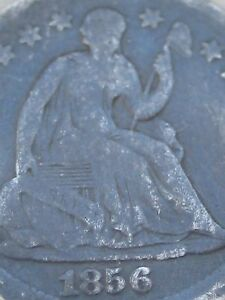 1856 P SEATED LIBERTY HALF DIME  VG OBVERSE DETAILS