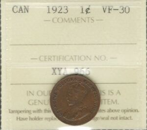 1923 SMALL CENT ICCS GRADED VF 30  DATE 2ND LOWEST MINTAGE KEY CANADA PENNY