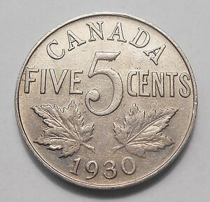 1930 FIVE CENTS VF  ATTRACTIVE HIGHER GRADE KING GEORGE V OLD CANADA NICKEL