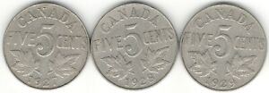 1927 1928 1929 FIVE CENTS F  3  YEAR DATE SET NICE KING GEORGE V CANADA NICKELS