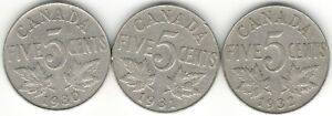 1930 1931 1932 FIVE CENTS F  3  YEAR DATE SET NICE KING GEORGE V CANADA NICKELS