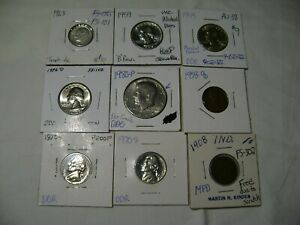 9 PROOF COPPER SILVER & CLAD COINS  HALF NICKEL DIME CENT VARIETY US ERROR COINS
