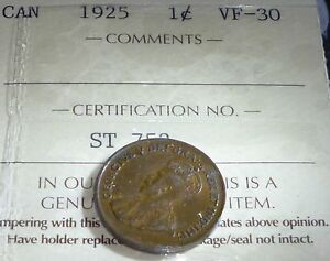 KEY DATE CANADA  1925 ONE CENT  ICCS GRADED 30