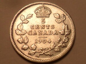 1904 NICE CANADA 92.5  SILVER FIVE CENT LOW MINTAGE 2 400 000