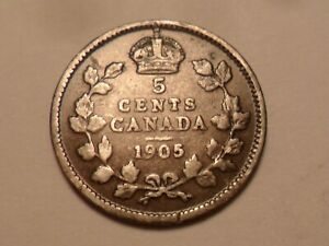 1905 NICE CANADA 92.5  SILVER FIVE CENT LOW MINTAGE 2 600 000