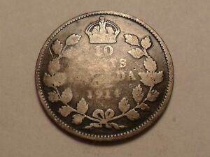 1914 NICE CANADA 10 CENTS 92.5  .0691 OZ SILVER LOW MINTAGE 2 549 811