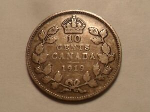 1919  NICE CANADA 92.5  SILVER 10 CENT MINTAGE 7 877 722