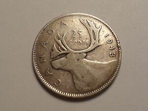 1943 NICE CANADA 25 CENT 0.8000 SILVER ASW 0.15000 LOW MINTAGE 13 559 575