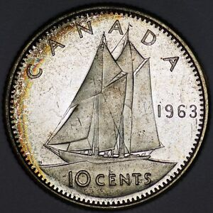 CANADA SILVER 10 CENTS 1963 BRILLIANT UNCIRCULATED    LIGHT PERIPH. TONING    1