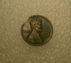 1944 P LINCOLN WHEATL CENT CURVED CLIP NICE MINT ERROR 19620