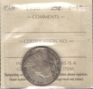 1910 TWENTY FIVE CENTS ICCS F 15   NICE F VF LAST YEAR EDWARD VII CANADA QUARTER