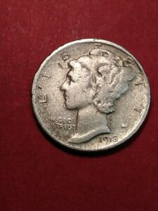 1918 D SILVER MERCURY DIME DON'T KNOW IF IT IS A LAMINATE ERROR OR NOT  38