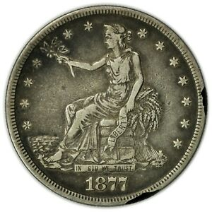 1877 S SEATED TRADE DOLLAR LARGE CIR EARLY SILVER COIN [4408.01]