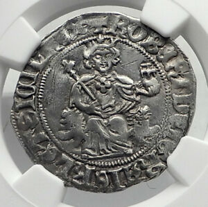 Click now to see the BUY IT NOW Price! 1309AD ITALY NAPLES KING ROBERT D'ANJOU OF ANJOU MEDIEVAL SILVER COIN NGC I80403