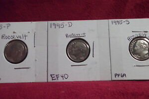 1995 P EXTRA FINE / 1995 D EXTRA FINE / 1995 S HIGH END PROOF ROOSEVELT DIMES