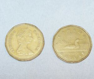 LOT OF 2   1989 CANADA ONE DOLLAR LOON    CIRCULATED