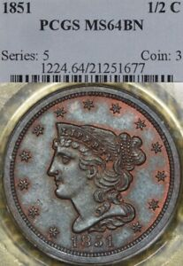Click now to see the BUY IT NOW Price! 1851 1/2C PCGS MS64 BRAIDED HAIR HALF CENT   ELECTRIC BLUE TONING