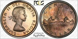 Click now to see the BUY IT NOW Price! CANADA 1953 ELIZABETH II DOLLAR. PCGS MS64 WITH STRAP FLAT RIM.