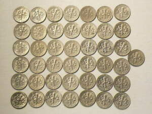 1965 TO 2010 US 10 CENTS ROOSEVELT DIMES LOT OF 43 NO DUPLICATES DATES 4292