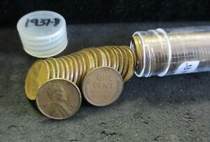 1937 D LINCOLN WHEAT CENT ROLL   NICELY CIRCULATED   ENN COINS