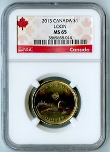 2013 CANADA NGC MS65 LOON DOLLAR $1  ONLY 4 COINS GRADED HIGHER BY NGC