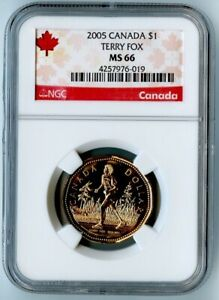 2005 CANADA NGC MS66 TERRY FOX DOLLAR $1  AWESOME COIN