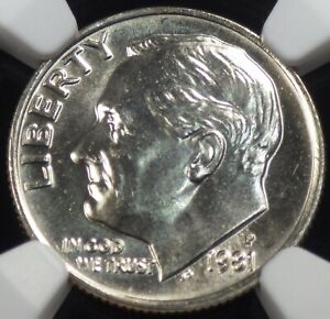 1981 P ROOSEVELT DIME NGC GRADED MS 67