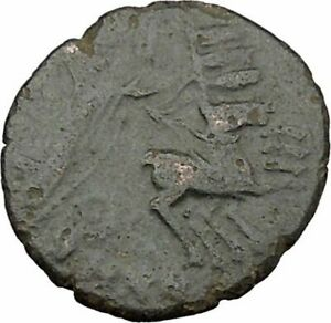 SAINT CONSTANTINE I THE GREAT IN CHARIOT TO GOD HAND IN HEAVEN ROMAN COIN I37867