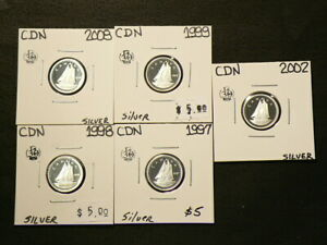 1997 98 99 2002 2008 CANADA 10 CENTS PROOF SILVER 92.5  LOT OF 5  4336