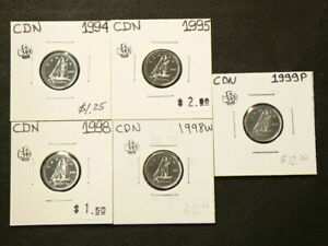 1994 1995 1998 1998W 1999P CANADA 10 CENTS UNC FROM MINT SETS LOT OF 5  4388
