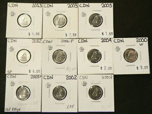 2000W TO 2013 CANADA 10 CENTS UNC FROM MINT SETS LOT OF 10  4389