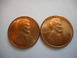 LINCOLN CENTS 1951 1951 S UNCIRCULATED RED BROWN 2 COINS