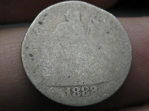 1882 P SEATED LIBERTY SILVER DIME