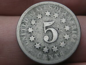 1874 SHIELD NICKEL 5 CENT PIECE  GOOD DETAILS