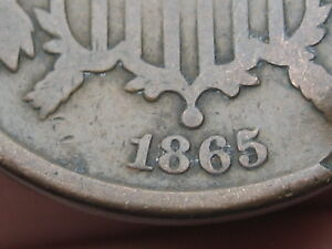 1865 TWO 2 CENT PIECE  FANCY 5 ROTATED REVERSE MINT ERROR