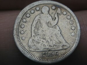 1856 P SEATED LIBERTY HALF DIME  VG/FINE DETAILS ROTATED REVERSE MINT ERROR