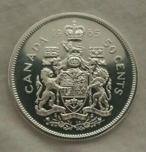 1965 PROOF LIKE CANADA SILVER HALF DOLLAR / 50 CENTS 80  SILVER