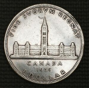 1939 CANADA  SILVER ONE DOLLAR CANADIAN BEAUTY ASW .60 OZ FREE COMBINED S/H