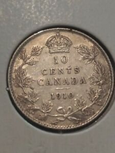 CANADA SILVER 10 CENTS DIME 1910 GREAT DEALS
