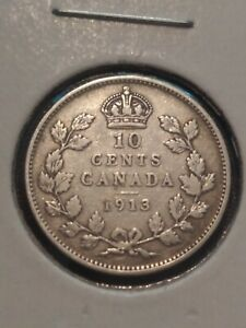 CANADA SILVER 10 CENTS DIME 1913 GREAT DEALS