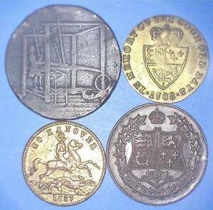 1786 1792 1837 1927   TO IDENTIFY   FOUR OLD TOKENS WITH DATES