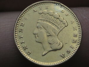 1861 $1 GOLD INDIAN PRINCESS ONE DOLLAR COIN  ROTATED REVERSE MINT ERROR