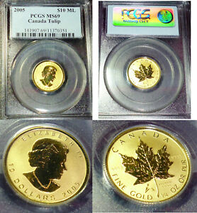 Click now to see the BUY IT NOW Price! MINTAGE 500  2005 $10 LIBERATION   TULIP  SPECIAL STRIKE  CANADA GOLD PCGS MS69
