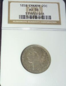 Click now to see the BUY IT NOW Price! 1858 CANADA 20 CENTS SILVER COIN NGC AU58