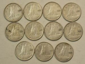 1954 CANADA 10 CENTS LOT OF 11 COINS SILVER   8431