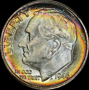 Click now to see the BUY IT NOW Price! 1946 S RAINBOW TONED ROOSEVELT DIME TOP POP PCGS MS68FB