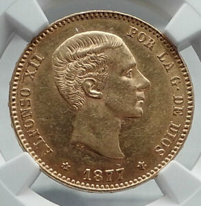 Click now to see the BUY IT NOW Price! 1877 SPAIN KING ALFONSO XII GOLD 25 PESETAS ANTIQUE SPANISH COIN NGC AU58 I80931